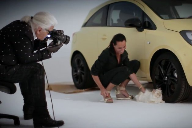 Karl Lagerfeld in Absurd Opel Corsa Cat Photo Shoot Making-Of Video