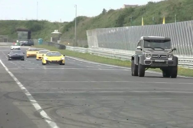 Mercedes G63 AMG 6x6 Races Ferrari, McLaren and More at Track Day