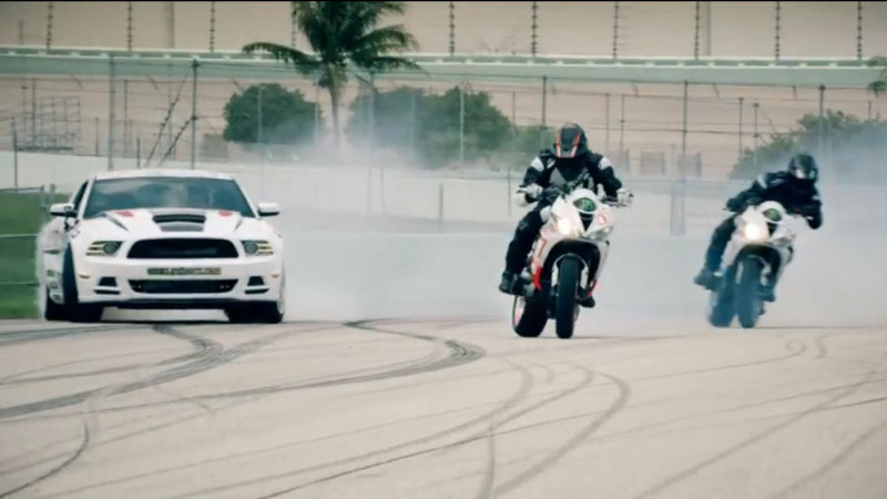 Motorcycles and Cars Star in Strangest Drift Battle Ever