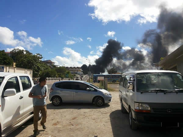 Port-Mathurin -  fire at the fuel station,  Photo by Jean Steeve Lucchesi