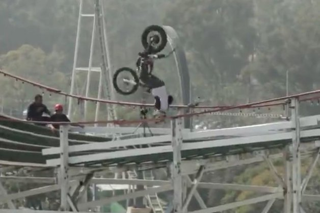 Julien Dupont Does Motorcycle Backflips on a Rollercoaster