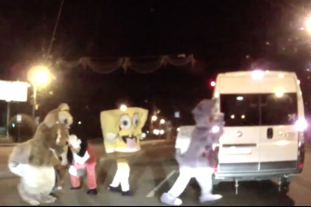Cartoon Mascots Punish Russian Driver in Road Rage Incident