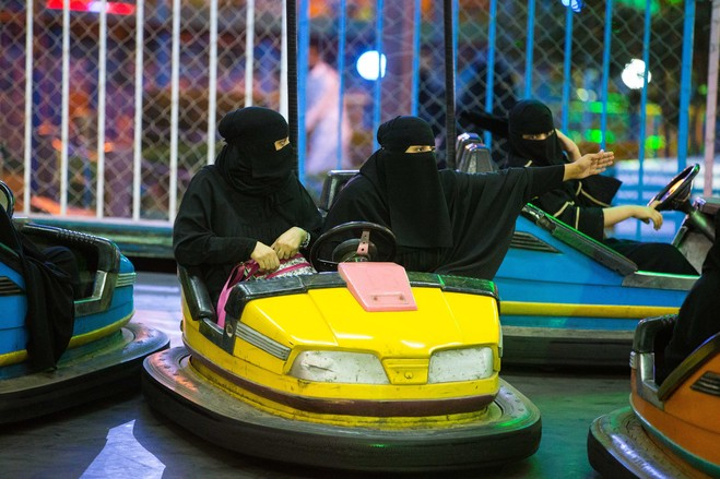 Saudi Arabian Women Use Bumper Cars To Practice Driving
