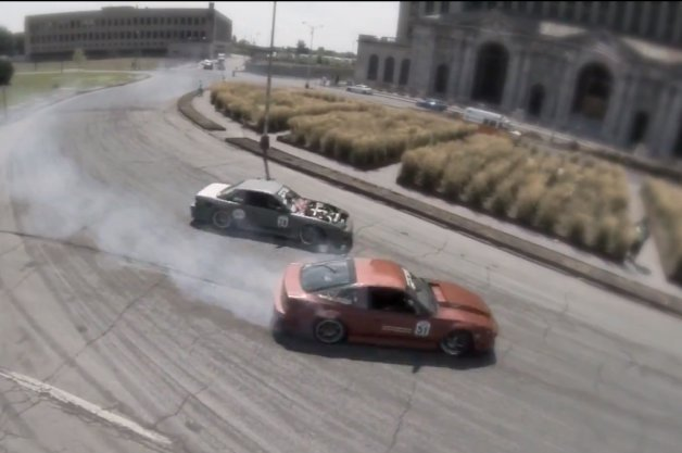 Drift Event Held In Shadows Of Detroit's Iconic Train Station
