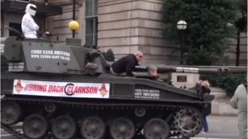 Clarkson Supporters Deliver Petition to BBC in a Tank