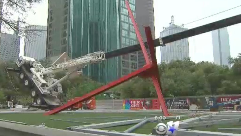 Toppled Boom Crane Truck Mistaken for Sculpture Outside Dallas Museum