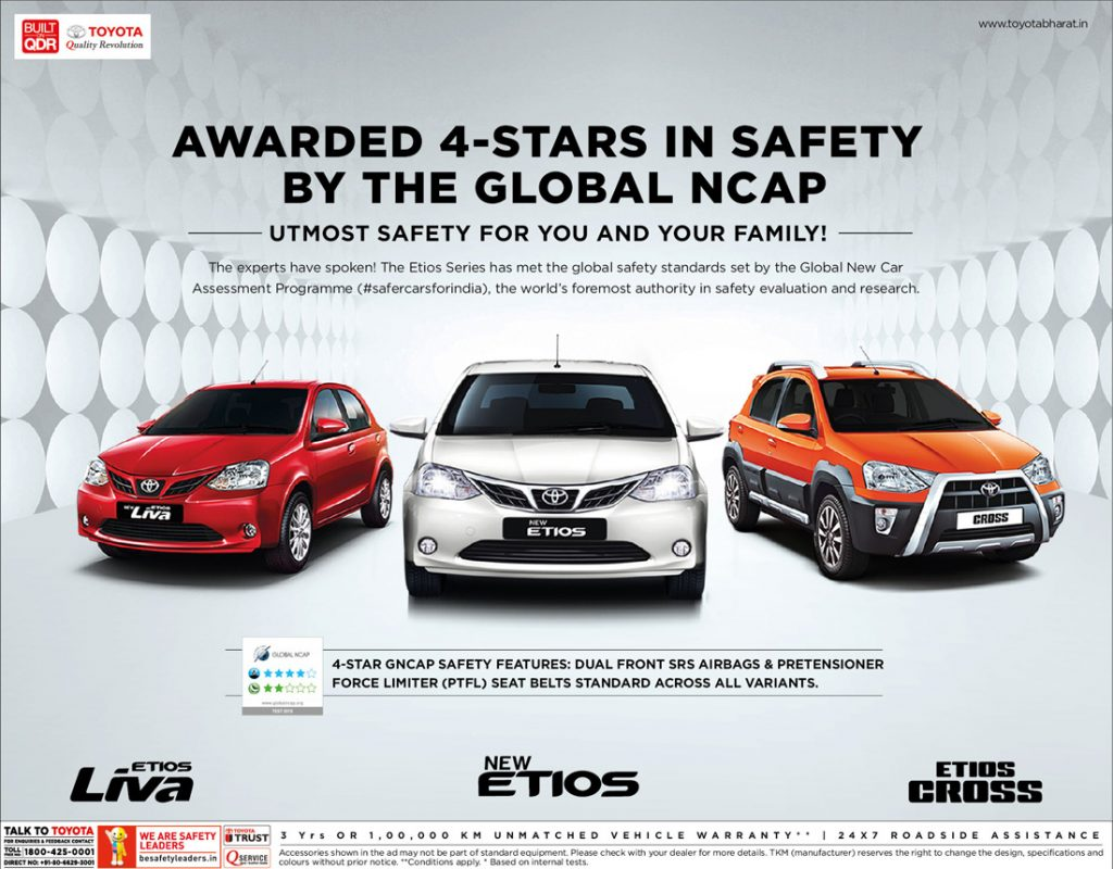 Toyota Etios , Liva and Etios Cross Achieves 4 Stars In Global NCAP Crash Test