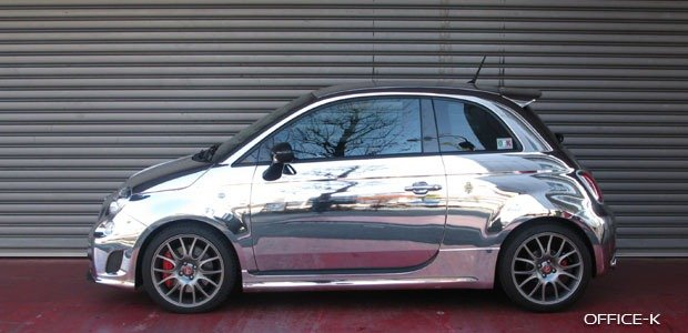 Abarth 695 Shines in Tokyo with Full Chrome Job