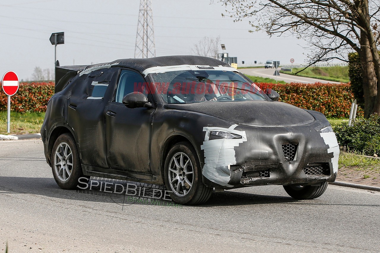Alfa Romeo Stelvio Caught Hiding Under Ugly Black Camouflage