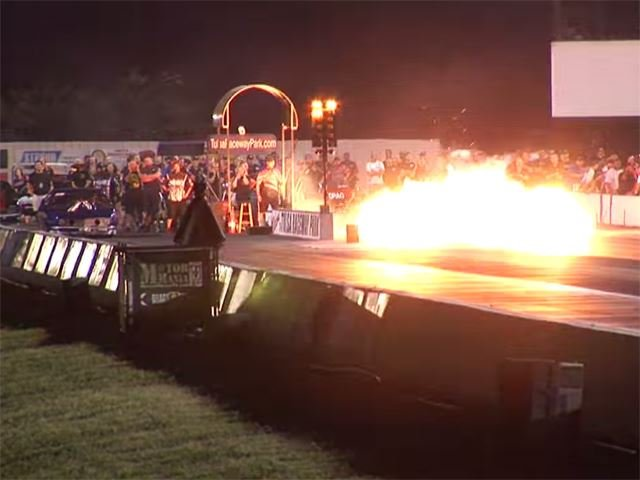 Drag Car Explodes On The Line