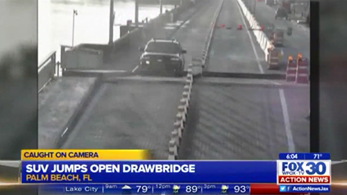 Distracted Driver Jumps Car Over Drawbridge