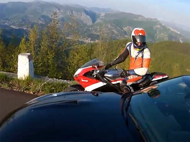 Ducati Superbike Screams Around Mountain Roads with Nissan GT-R