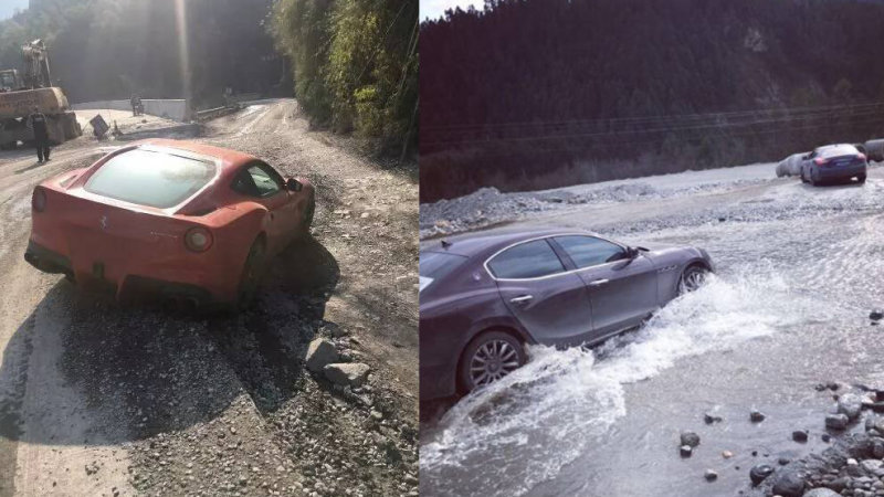 Ferrari, Maseratis Trashed In Chinese Off-Road Adventure