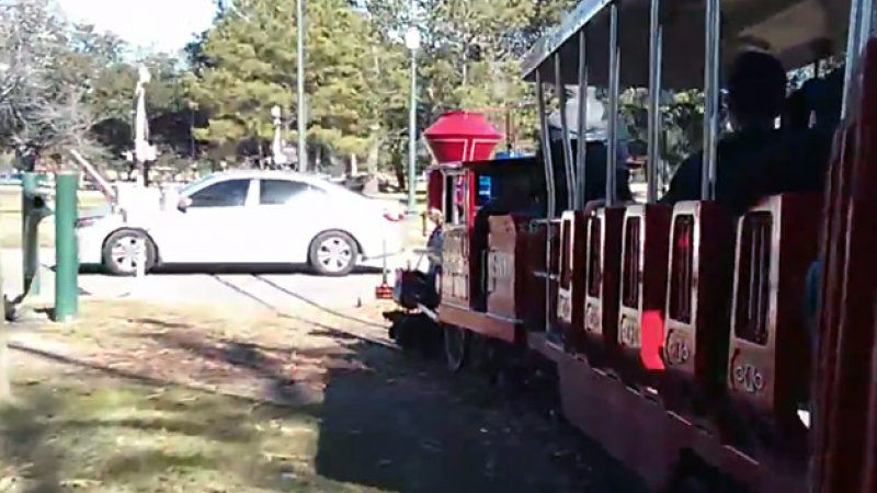 Tiny Train Collides with Actual Car to Surprising Effect