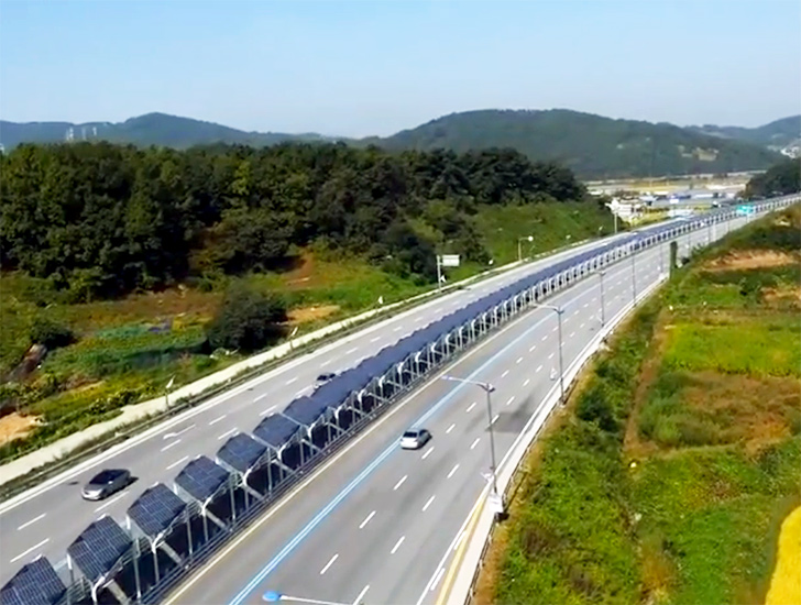 This is One Odd Solar Bike Lane in the Middle of a Korean Highway