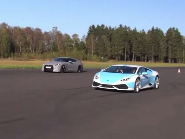 Lamborghini Huracan Battles Tuned Godzillas on the Track