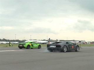 McLaren 650S Vs. Lamborghini Aventador Runway Drag Race Wraps Up Series Nicely