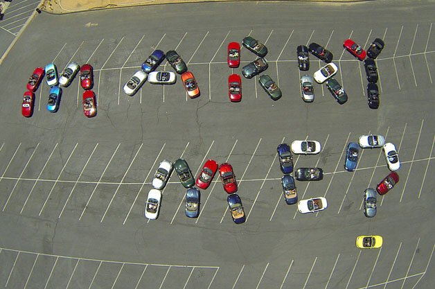 44 Miatas Engaged to Spell Happiness From Above