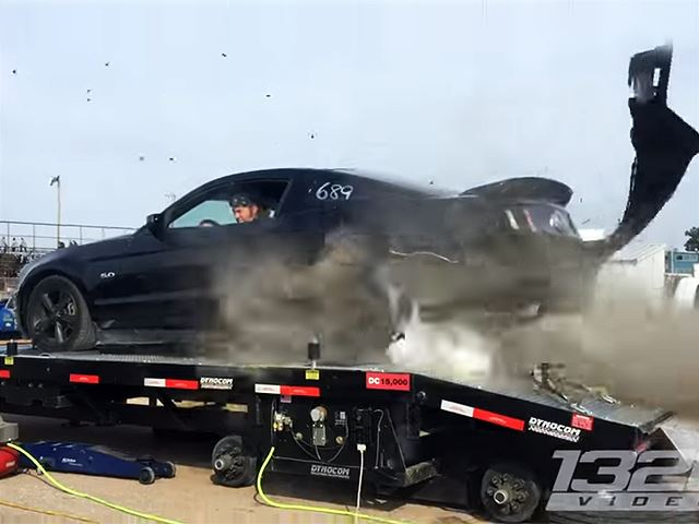 Mustang Tire Explodes in the Middle of a Dyno Test