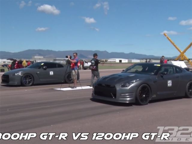 Quartet of 1,000-HP Nissan GTRs Destroying the Airstrip Is the Ultimate Godzilla Fanboy Video