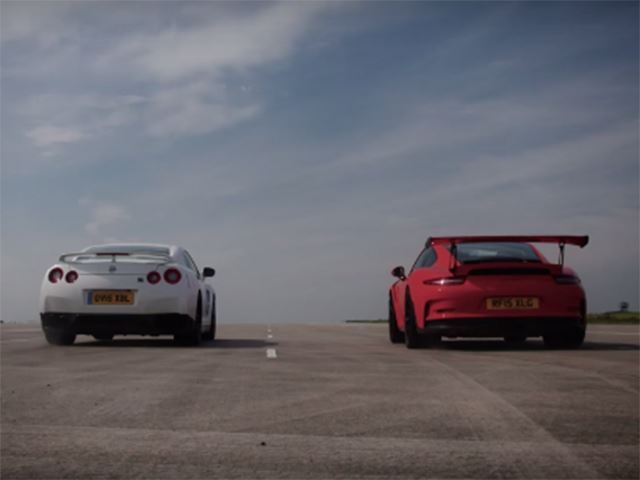 We Guarantee You Can't Predict The Outcome Of This GT-R Vs. 911 GT3 RS Drag Race