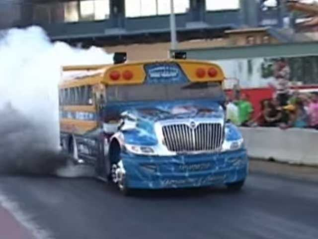 School Bus VS Big Rig Drag Race, Faster Than Most Production Cars In The Quarter Mile