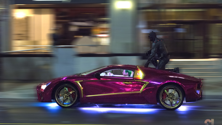 Suicide Squad Jokermobile Spied with Dark Knight Ride Along