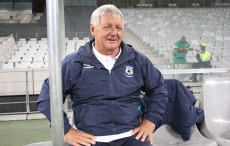 Clive Barker coach of the Black Aces during the Absa Premiership match between Ajax Cape Town..