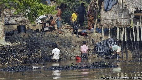 Villagers have been asked to help the government clear the spill