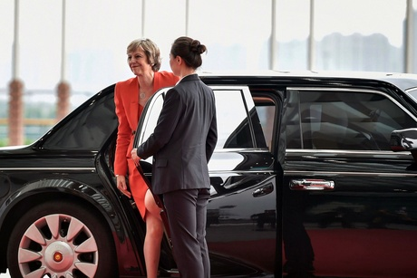 Britain's Prime Minister Theresa May arrives at the Hangzhou Exhibition Center