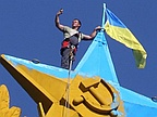 Activists Paint Moscow's 'Stalin Tower' With Ukraine Colours