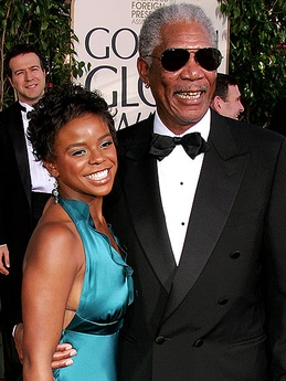 E'Dena Hines and Morgan Freeman