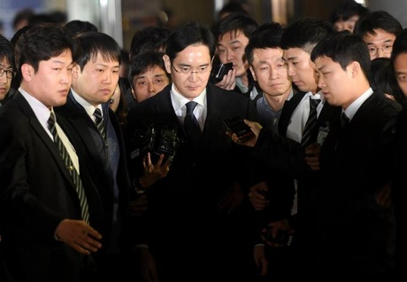Samsung Group chief, Jay Y. Lee, leaves the Seoul Central District Court in Seoul, South Korea