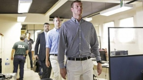Gunnar Bentz and Jack Conger were questioned at a Rio police station after being taken off ...