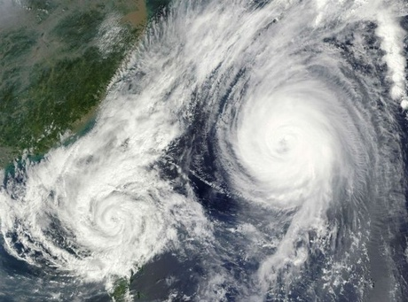 The Fujiwhara effect is when two nearby cyclonic vortices orbit each other and close the distance