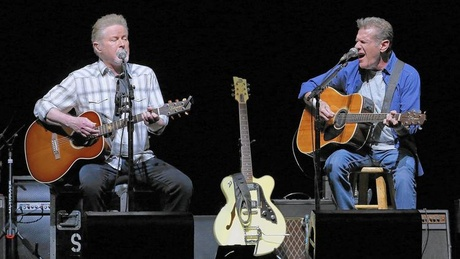Don Henley, left, and Glenn Frey of the Eagles perform in Perth, Australia, on Feb. 18, 2015