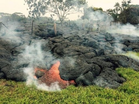 The lava flow from the Kilauea Volcano is seen in a U.S. Geological Survey (USGS) image taken near