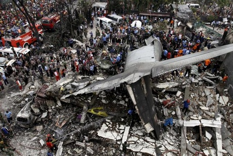 Indonesian military C-130 Hercules crashed in the North Sumatra city of Medan, Indonesia