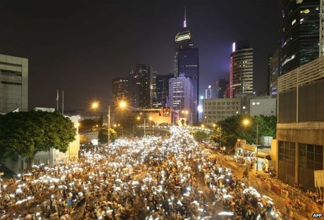 Protesters remained on the streets as darkness fell on Monday, with many still camped outside ..