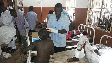 Hospital workers treated survivors of a suicide bombing at a high school in Potiskum, Nigeria