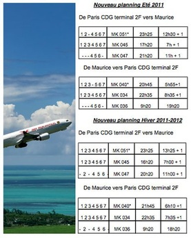 Air Mauritius schedule from/to Paris
