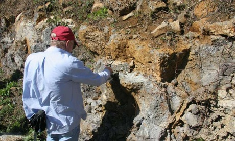 Lead author Prof. Lewis D. Ashwal studying an outcropping of trachyte rocks in Mauritius