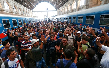 Migrants inside Eastern Railway station in Budapest