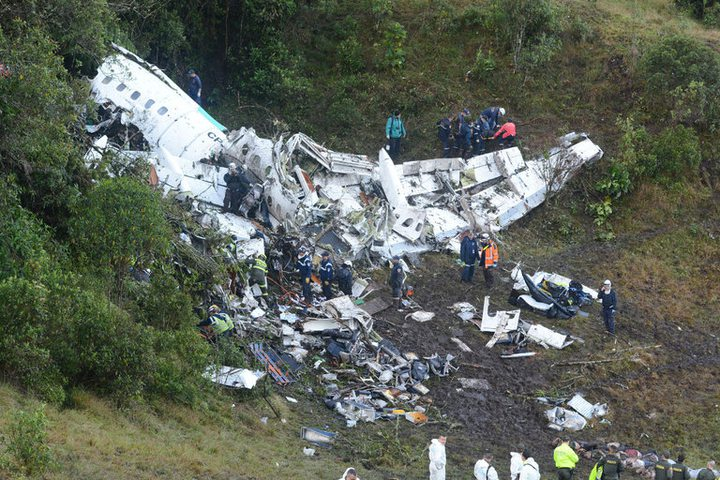 The site of the plane crash on the outskirts of Medellín, Colombia, on Tuesday.
